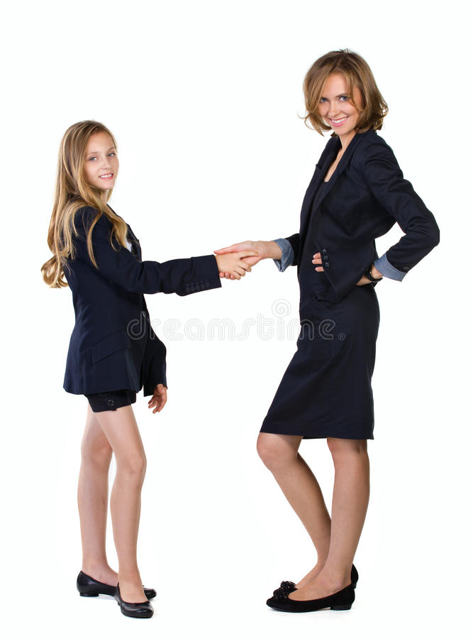 Businespartners van de moeder en van de dochter stock fotografie