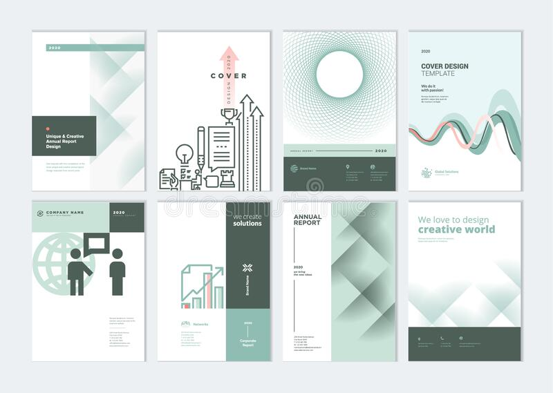 Set of brochure, annual report, business plan cover design templates. Vector illustrations for business presentation, business paper, corporate document, flyer vector illustration