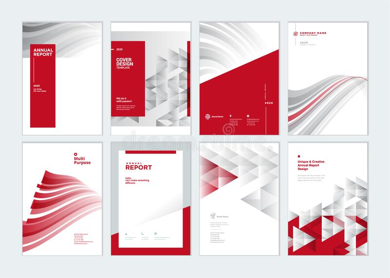 Set of brochure, annual report, business plan cover design templates. Vector illustrations for business presentation, business paper, corporate document, flyer stock illustration