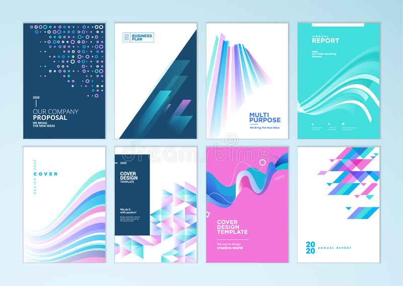 Set of brochure, annual report, business plan cover design templates. Vector illustrations for business presentation, business paper, corporate document, flyer royalty free illustration