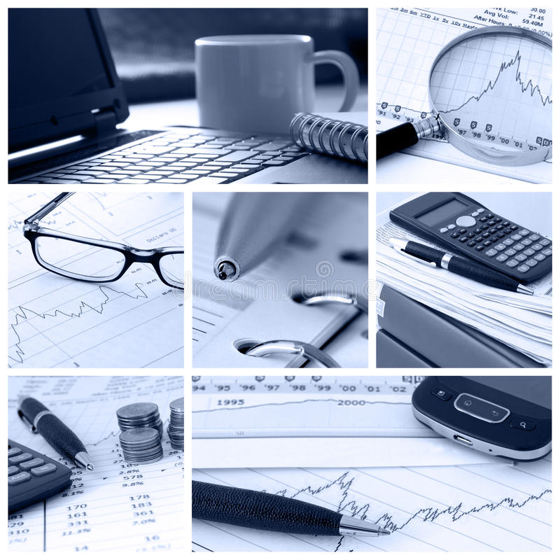 Business. A collage of photos about finance and business theme - in blue tone