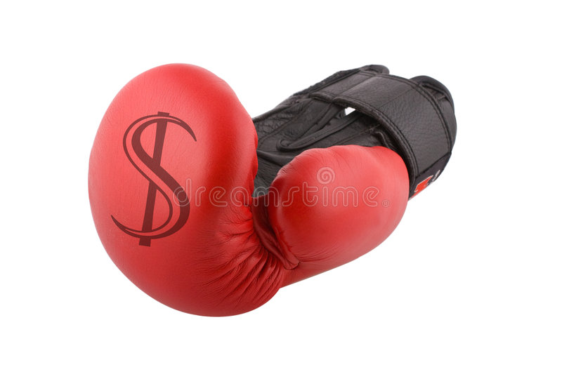 Business. A boxing glove with a dollar sign on it royalty free stock images