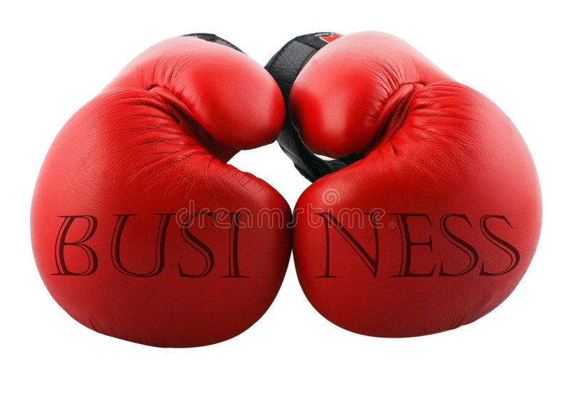 Business. Two boxing gloves with a word business on it stock photography