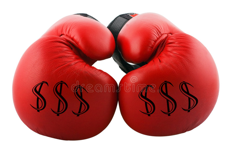 Business. Two boxing gloves with dollar signs on them stock images