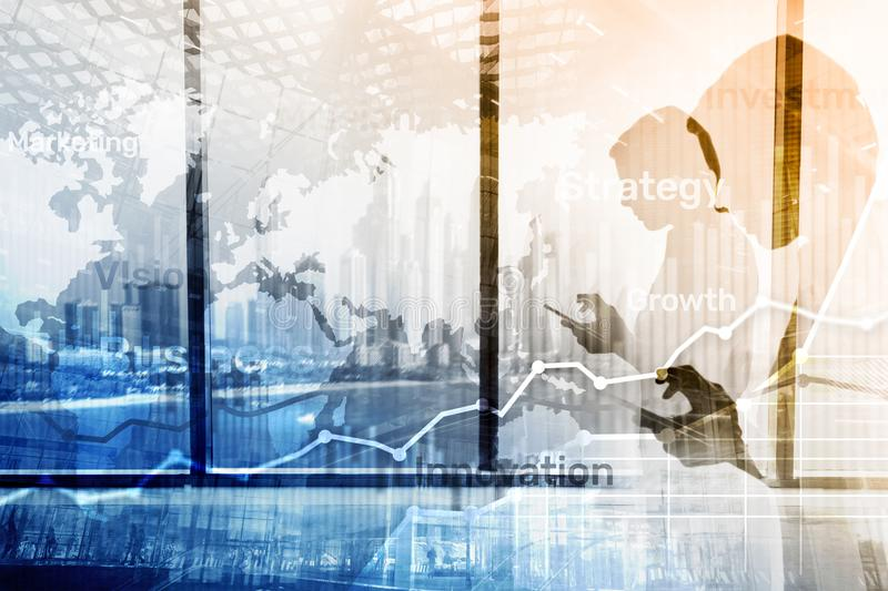 Business abstract background double exposure graph, chart and diagram. World wide map and. Global business and financial trading. Concept royalty free stock photography
