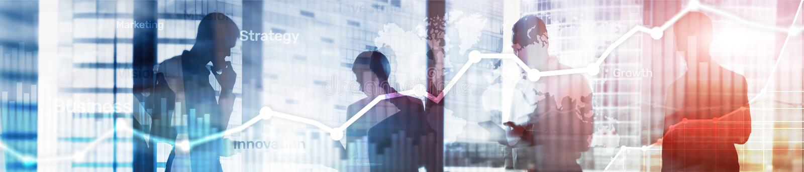 Business abstract background double exposure graph, chart and diagram. World wide map and. Global business and financial. Trading concept. Website header banner stock images