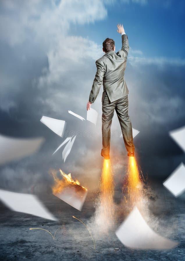 Business Accelerator. A businessman launching upwards