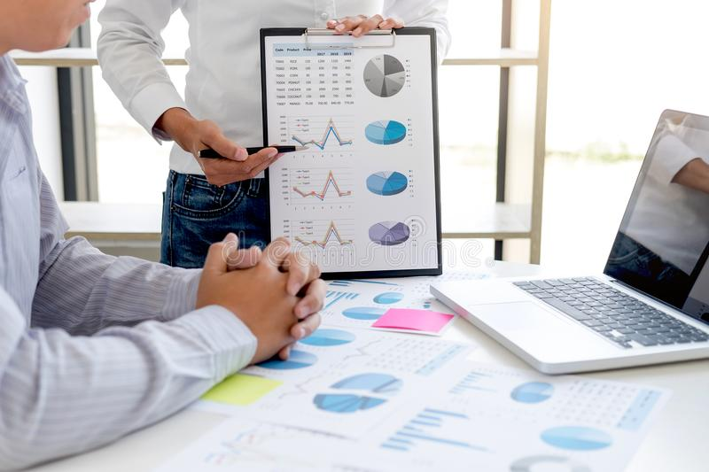 Business accountant banking, business partner offering calculate royalty free stock photo