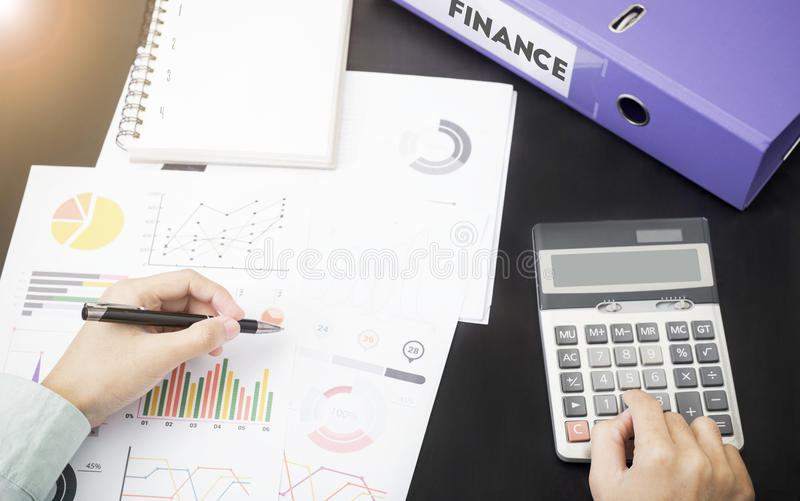 Business accountants with documents graph financial on office royalty free stock image