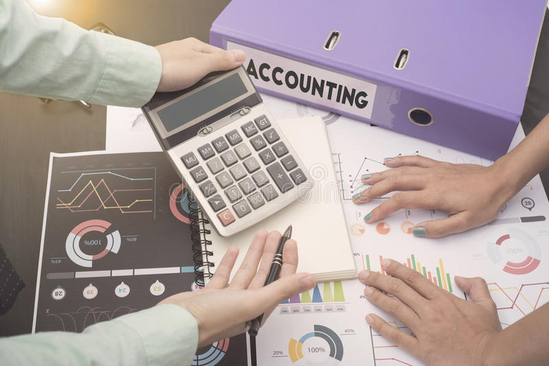 Business accountants with documents graph financial on office. Table. concept planning budget, audit royalty free stock images