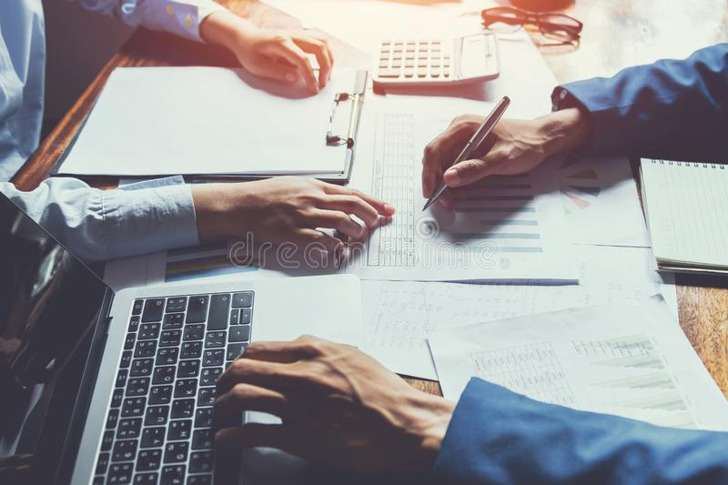 business accounting team meeting in room office using pen pointing at paperwork. finance . concept royalty free stock photo