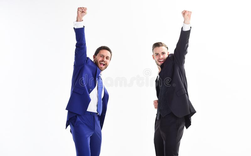 Business achievement concept. Business success. Office party. Celebrate successful deal. Men happy emotional celebrate royalty free stock image
