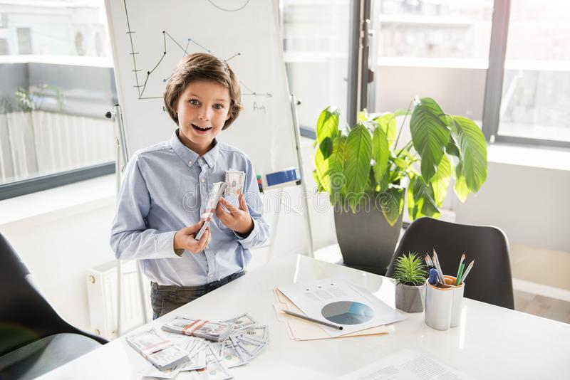 Happy wealthy child is expressing admiration royalty free stock images