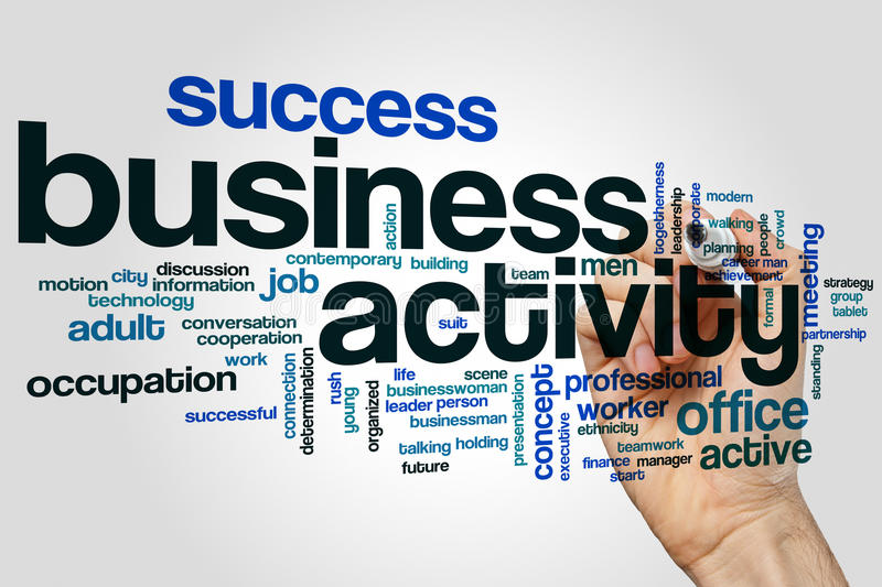 Business activity word cloud concept on grey background royalty free stock image