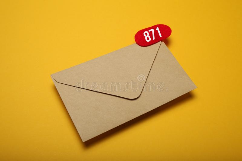 Business address communication concept, document correspondence. App.  stock image