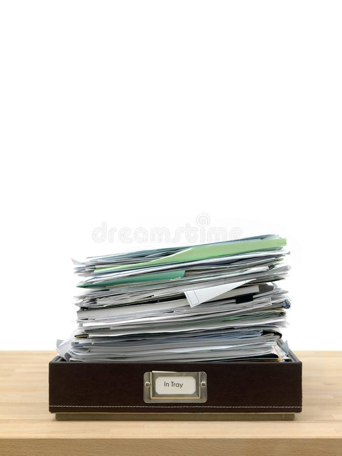 Business Admin. In and out office trays in an office situation royalty free stock photo