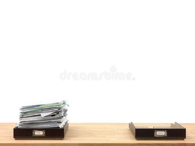 Business Admin. In and out office trays in an office situation royalty free stock photos