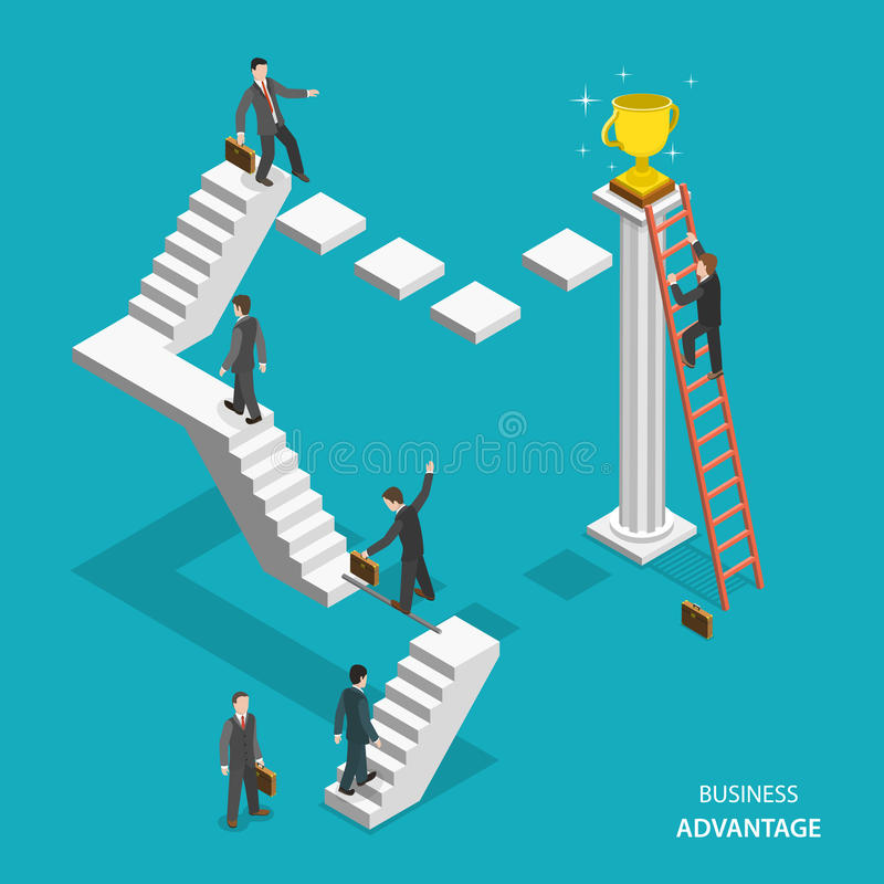 Business advantage isometric flat vector concept. stock illustration