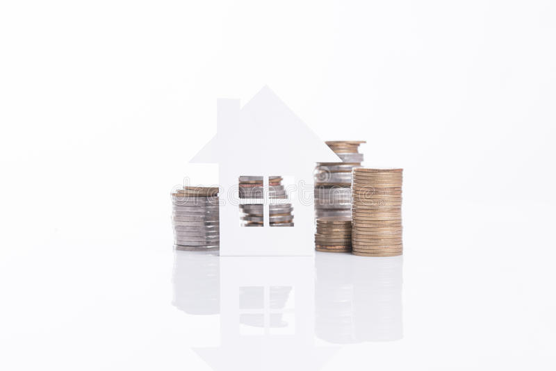 Business advertisement family home concept and growing pile coin royalty free stock photography
