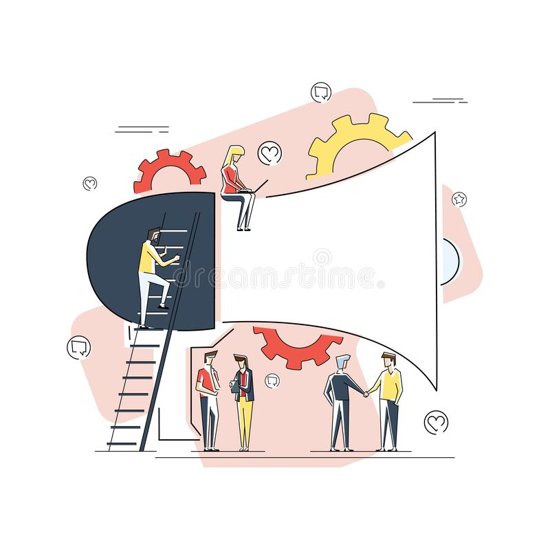 Business Advertising Promotion. Loudspeaker Talking to the Crowd. Big Megaphone and Flat People Characters Advertisement vector illustration