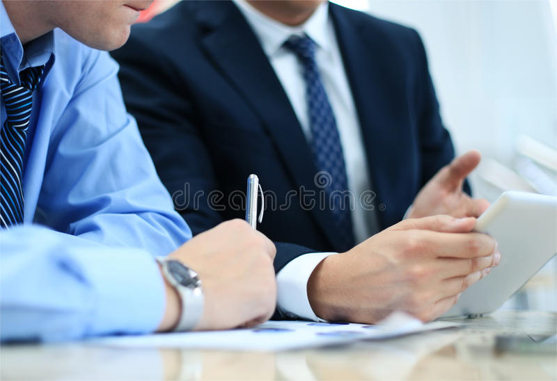 Business adviser analyzing financial figures royalty free stock photo