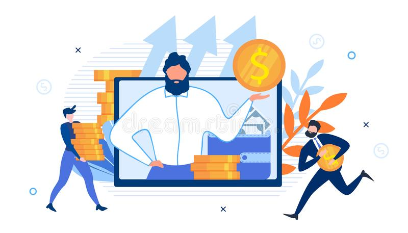 Business Advisor on Screen and Rich Office Workers. Business Advisor with Wallet and Cash on Screen. Happy Rich Office Workers. Businessman Runs with Gold Dollar royalty free illustration