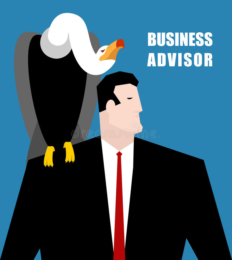 Business Advisor. Vulture sits on shoulder of businessman. Carrion Bird suggests a solution. Grief and man in business suit royalty free illustration