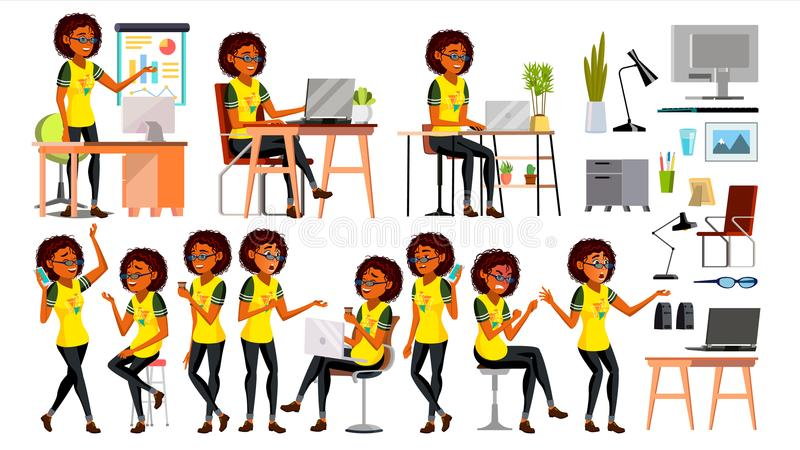 Business African Black Woman Character Vector. In Action. Office. IT Business Company. Working Elegant American Modern royalty free illustration