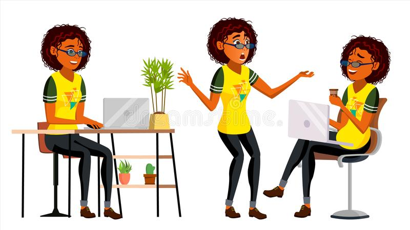 Business African Black Woman Character Vector. American Elegant Modern Girl. Expressions. Working On The Computer. Desk vector illustration
