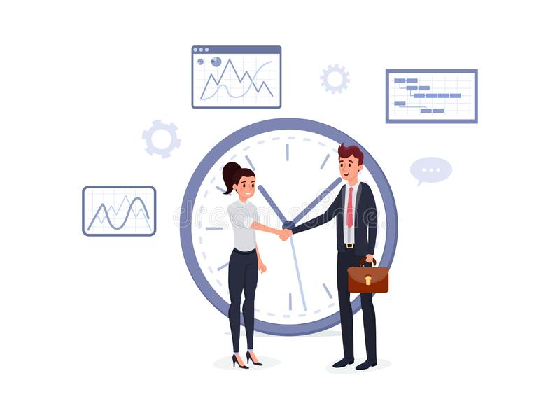 Business agreement flat poster. Smiling man in suit with briefcase and woman shaking hands near big clock vector illustration. Bargaining concept. Graphs charts stock illustration