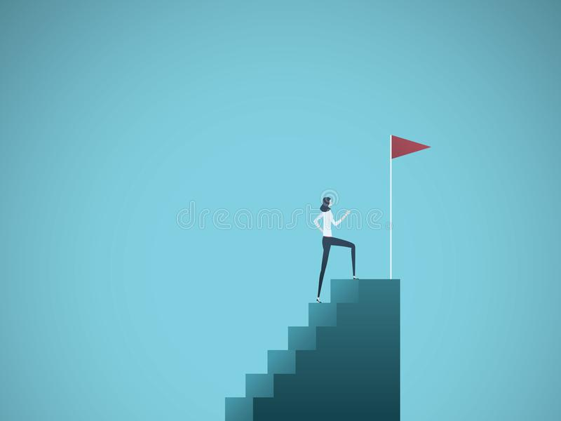 Business ambition and success vector concept. Ambitious and successful business woman climbing to top of steps. Symbol. Of motivation, challenge, success. Eps10 vector illustration