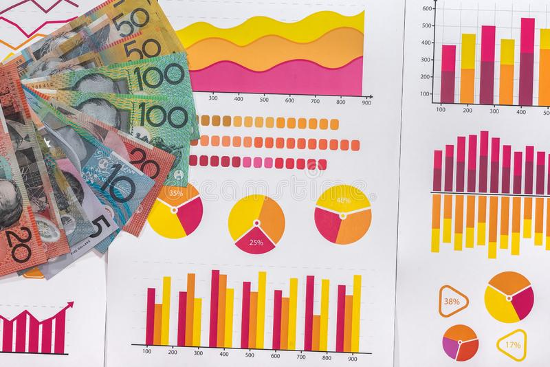 Business analysis with australian dollars on graphs.  stock photography