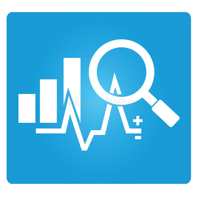 Business analysis. Chart symbol in blue button