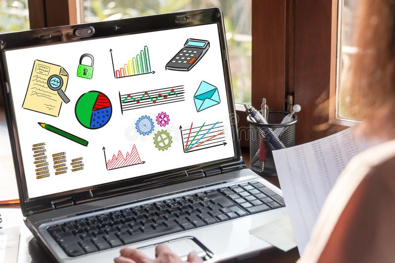 Business analysis concept on a laptop screen. Laptop screen showing business analysis concept royalty free stock photos