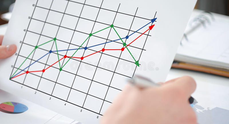 Business analysis concept on a paper stock images