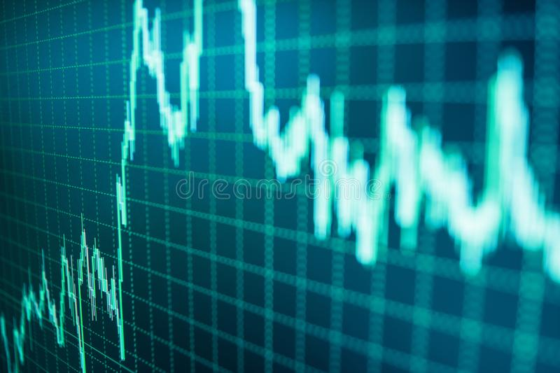 Business analysis diagram. Stock market quotes on display. Market report on blue background. royalty free illustration