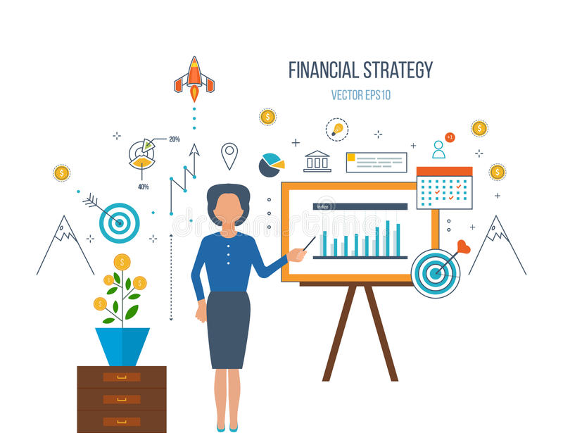 Business analysis, financial report and strategy. Concepts for business analysis and planning, financial strategy and report, consulting, teamwork, project stock illustration