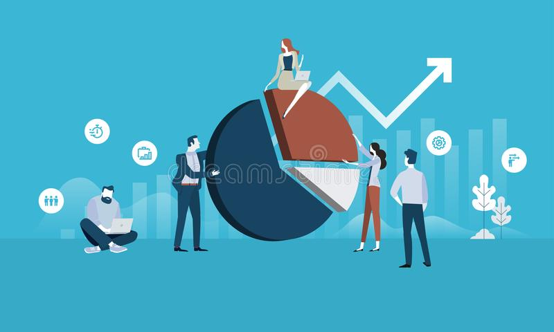 Business analysis. Flat design business people concept. Vector illustration for web banner, business presentation, advertising material vector illustration