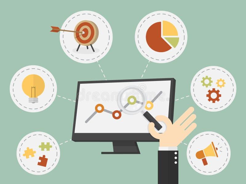 Business analysis. Flat design vector illustration business analysis, SEO royalty free illustration