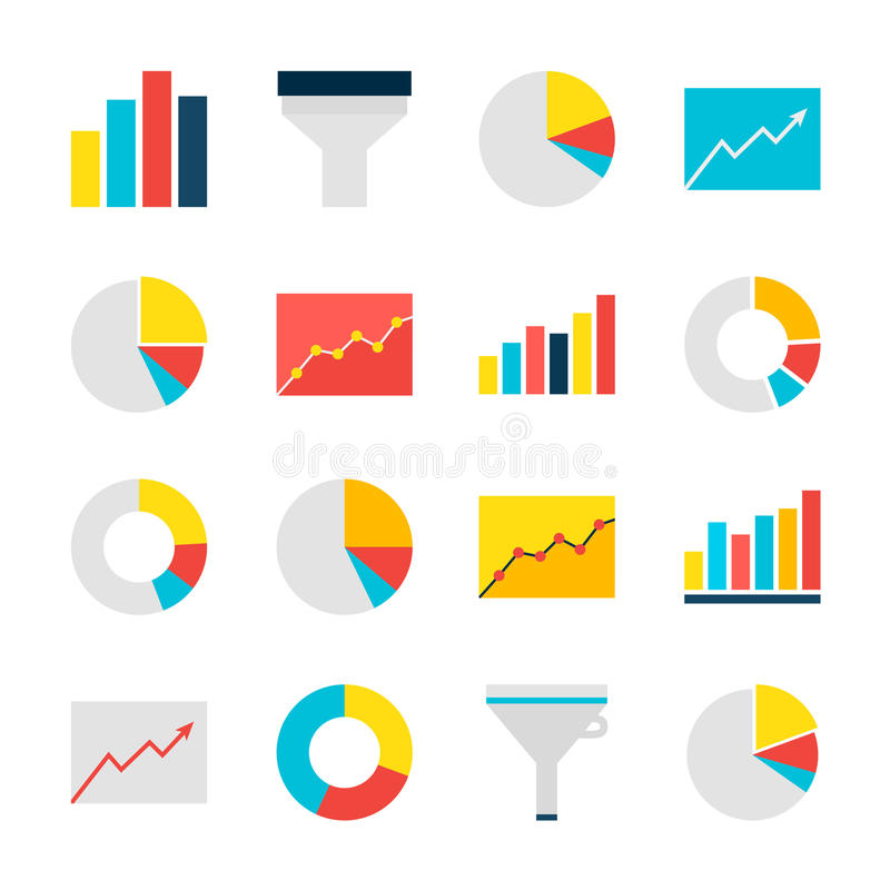 Business Analysis Graph and Chart Flat Objects Set over. Business Analysis Graph and Chart Objects Set over White. Flat Design Vector Illustration. Collection of royalty free illustration