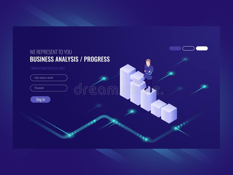Business analysis and progress concpet, businessman, schedule of data, strategy isometric, chart moves up, vector. Ultraviolet vector illustration