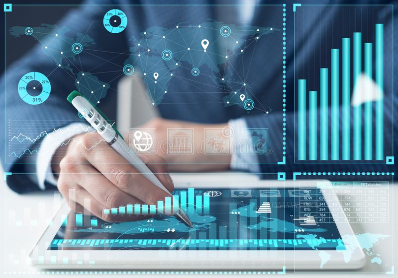 Business analysis and stock market analyzing royalty free stock photos