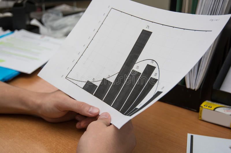 Business analyst examining diagram. Business analysis - table, sheet, graphs, business report, diagrams and analyst`s hands, top view stock image