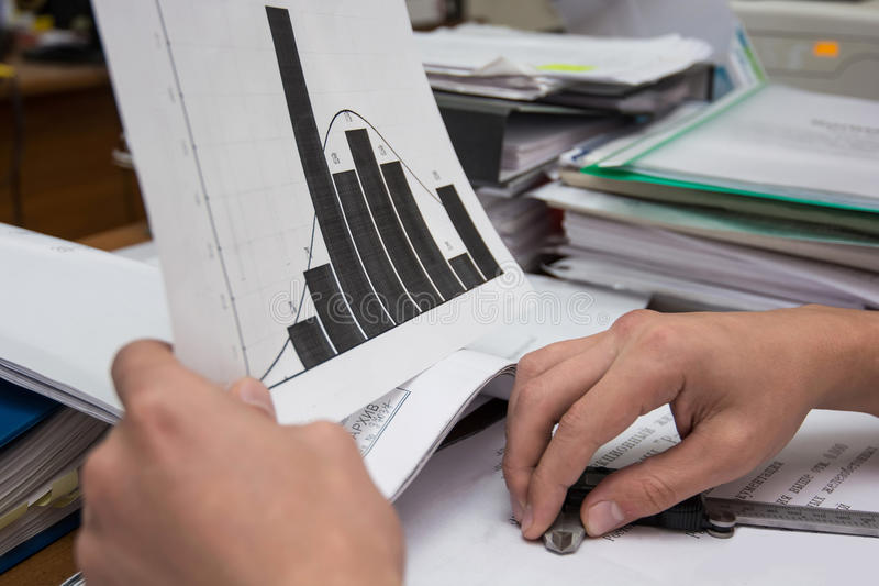 Business analyst examining diagram. Business analysis - table, sheet, graphs, business report, diagrams and analyst`s hands, top view royalty free stock image