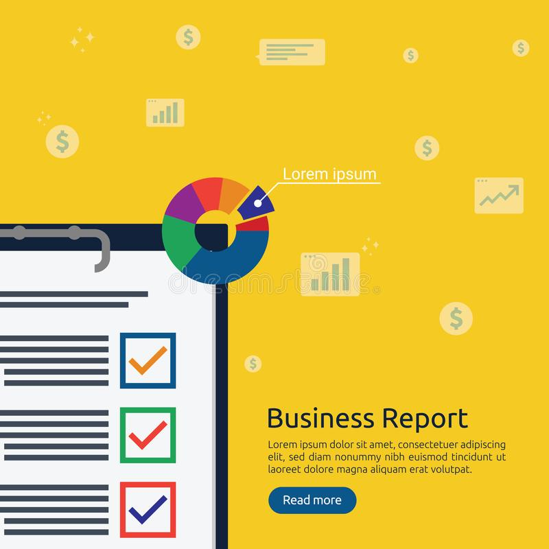 Business analyst or financial research report concept. financial accounting audit on statistical data paper document. Clipboard stock illustration