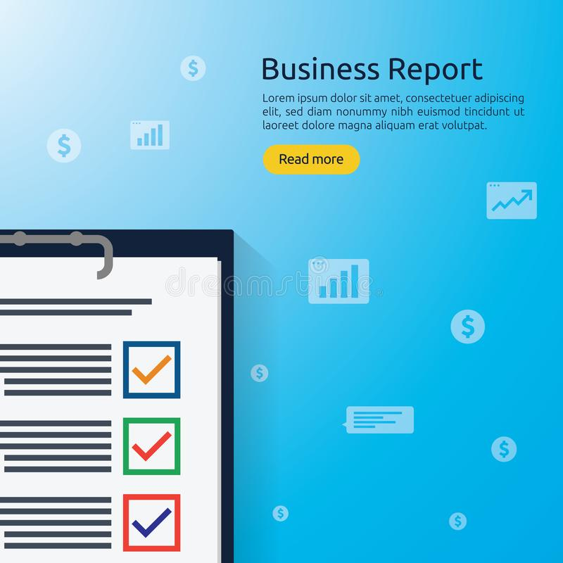 Business analyst or financial research report concept. financial accounting audit on statistical data paper document. Clipboard vector illustration