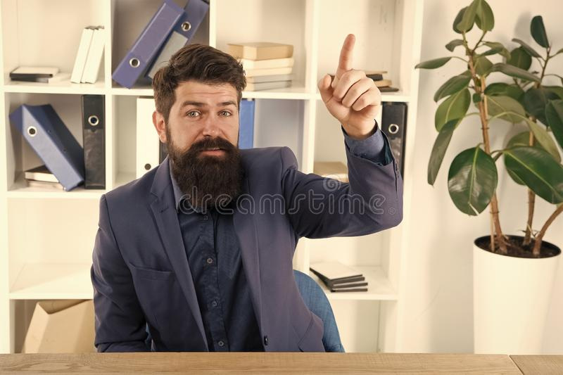 Business analyst. Great idea. Modern businessman. Male fashion in business office. Bearded man analyst. Mature hipster. With beard. Confident brutal man analyst stock images