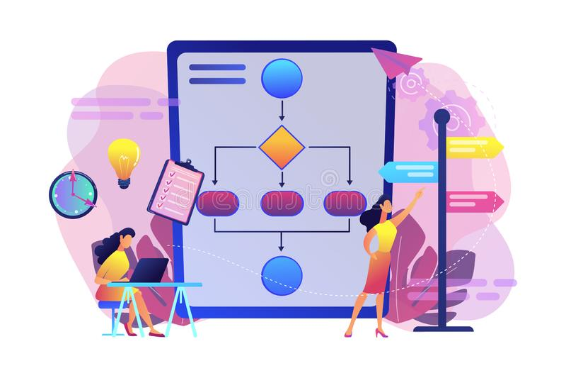 Decision management concept vector illustration. Business analyst with laptop, idea lightbulb and waymark. Decision management, enterprise analysis, decision IT royalty free illustration