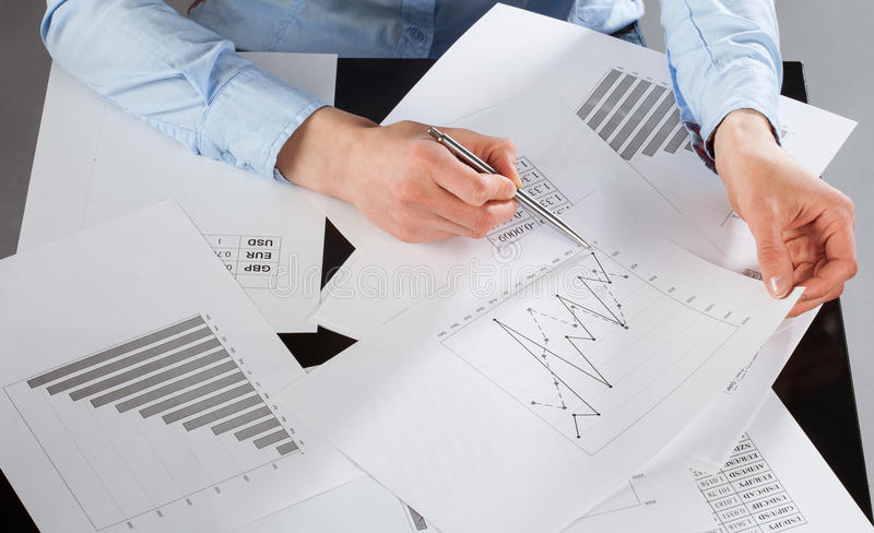 Business analyst working. With data royalty free stock images