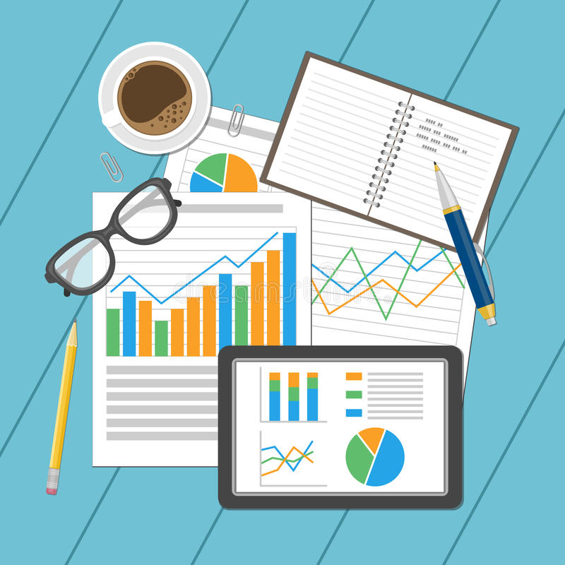 Business analytic concept. Planning and accounting, analysis, financial audit, seo analytics, working, management. stock illustration